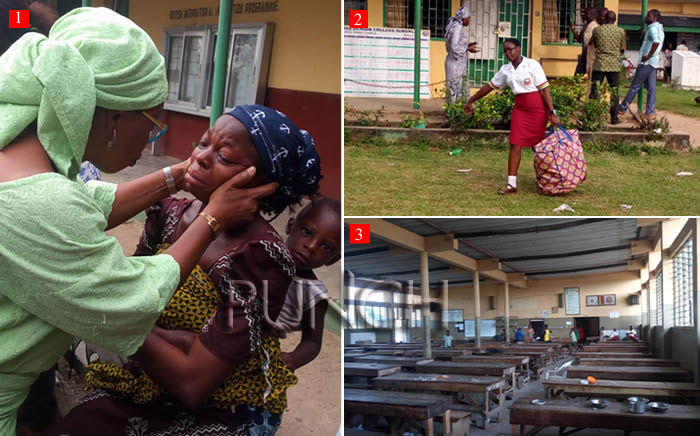 Image result for Parents of kidnapped pupils storm Ambode's office
