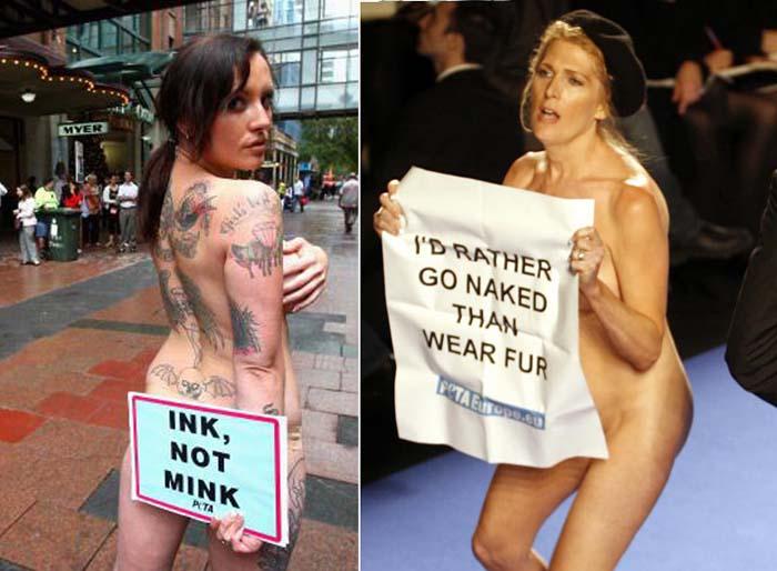 protest fur naked