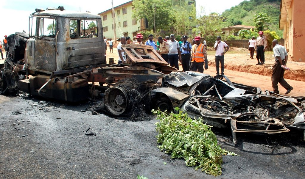 PHOTOS: Woman burnt to death in Ibadan tanker fire