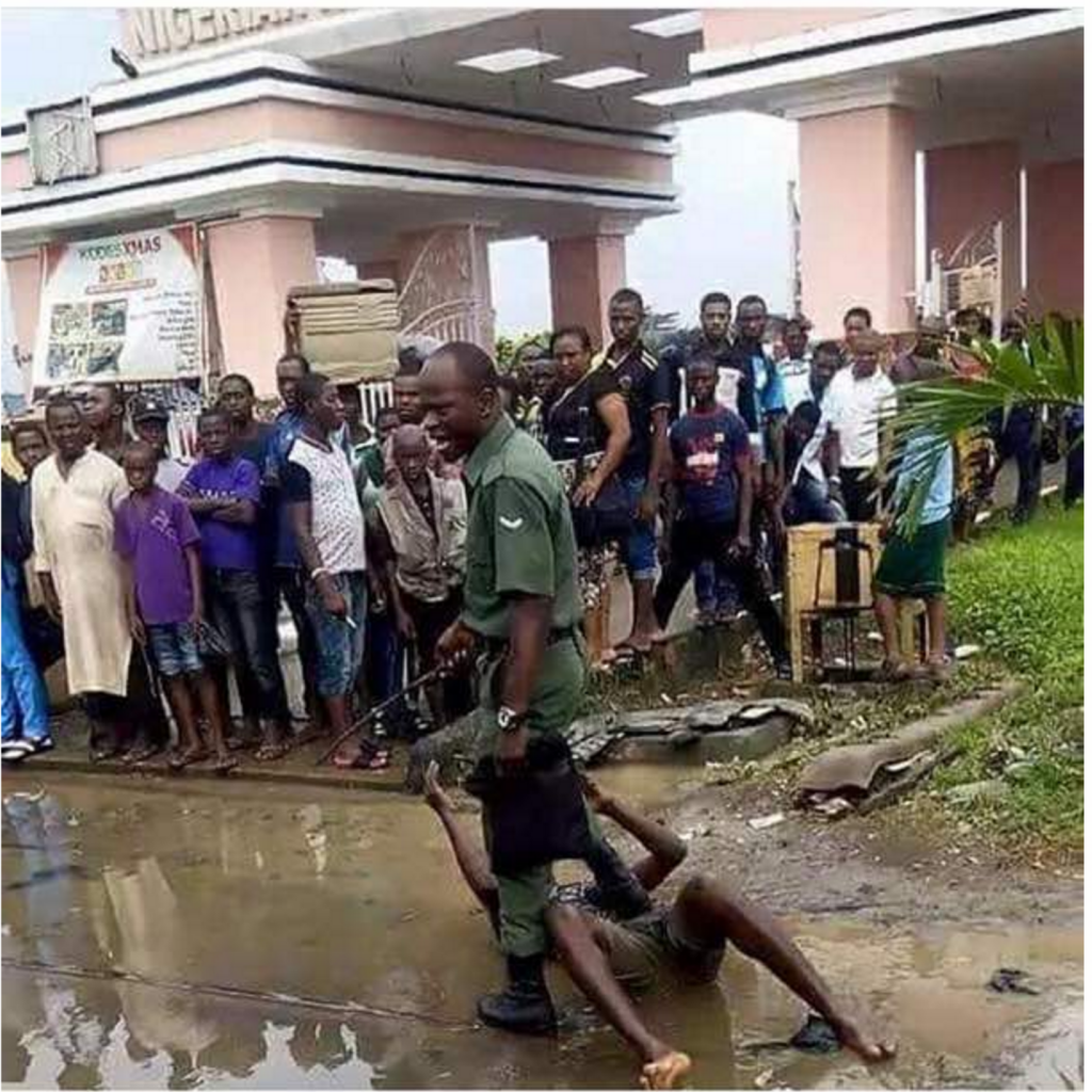 PHOTO: Soldier brutalises man in Lagos