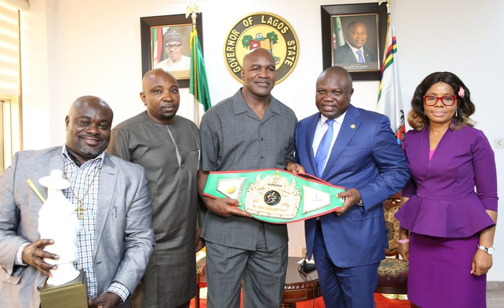 PHOTOS: Ambode welcomes Evander Holyfield to Lagos