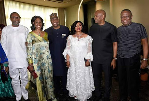 PHOTOS: Otedola, Elemelu dance with Alakija on 65th birthday bash