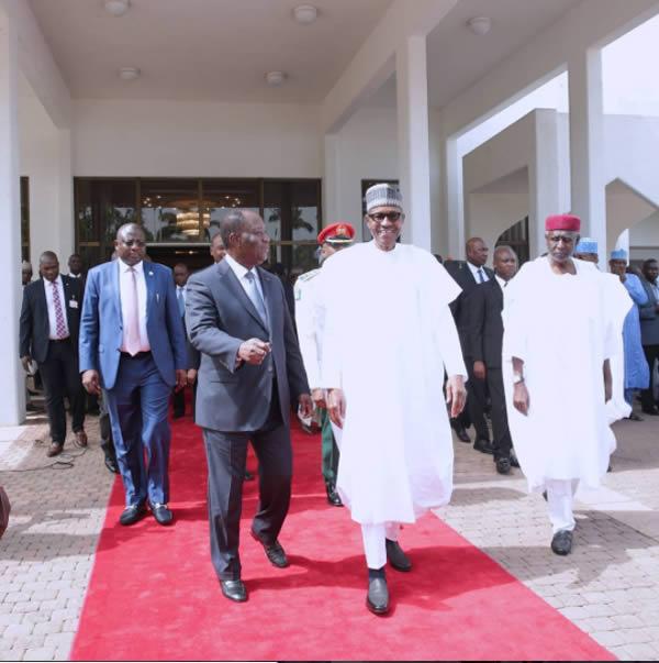 [PHOTOS]Buhari meets Ouattara