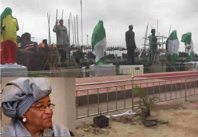 Image result for ellen sirleaf's statue next to zuma