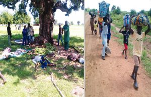 L: People killed in attacks by herdsmen on Kodomun, Adamawa State... on Tuesday. R: Children fleeing. Photos: Hindi Livinus