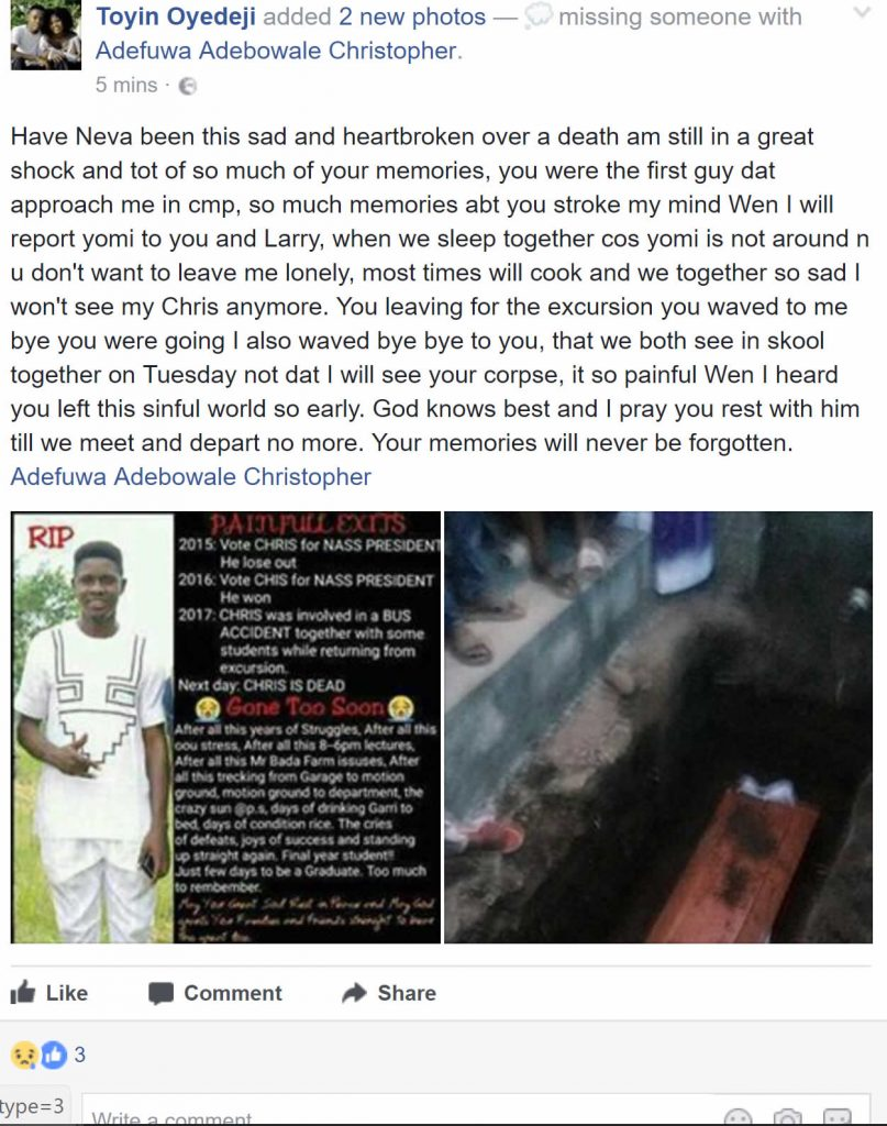 [PHOTOs] OOU NASS president dies in accident few days to graduation