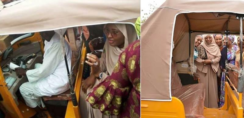 [PHOTOS] Aisha Buhari takes a ride in Keke NAPEP